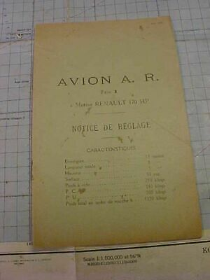 ORIGINAL WWI AIRCRAFT BOOKLET - AVION A.R. TYPE 1