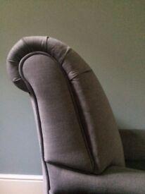 M&S Howard-style chair newly reupholstered in grey moleskin velvet