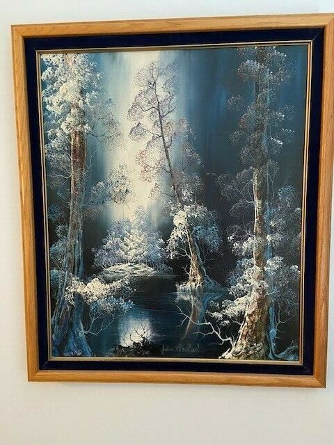 Vintage Painting Winter In The Vienna Woods By Julian Rhinehardt 20 x24 . - $225.00