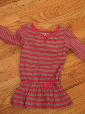 nautica girls gray red striped dress size 3T