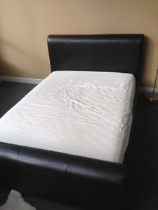 GENUINE LEATHER BED and MATTRESS(Full) --- Less than 2 years old
