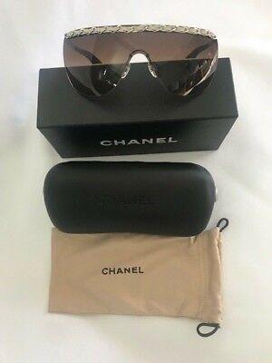 52c83ff3b2215 CHANEL Chain leather Sunglasses 4160-Q 124 13 3N New Authentic 120mm