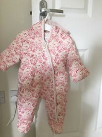 Mini club pretty pink baby girls snowsuit, aged 0-3 months