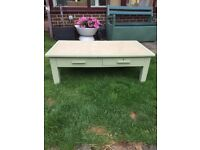 Solid wood upcycled coffee table with 2 drawers, £10