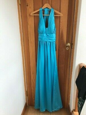 js boutique turquoise ruche satin maxi dress uk 8 bnwt