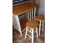 Kitchen table for 2 with 2 stools
