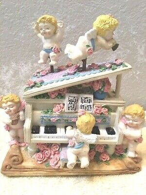 Baby Angels Playing The Piano Music Box, Free Shipping