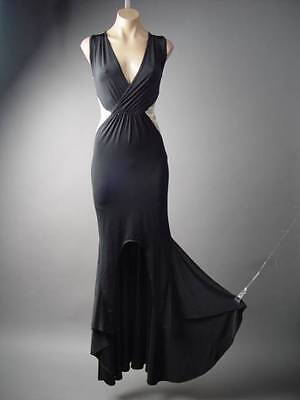 Black Old Hollywood Evening Fishtail Mermaid Prom Formal Gown Long 229 mv Dress