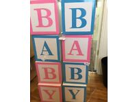 Baby shower blocks for Hire - only £30 (Ideal for baby showers/gender reveals)