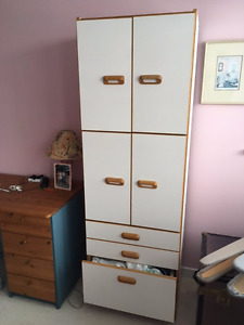 Shelving unit with doors, drawers