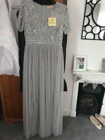 Asos Maya silver sequin long bridesmaid dress
