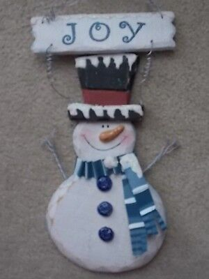 """Wooden SNOWMAN wall hanging 14"""" to top wire,  Metal and Ceramic nose, scarf etc"""