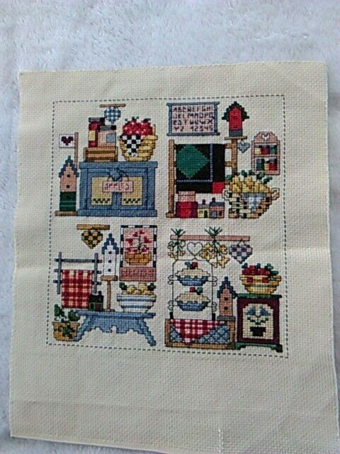 Completed Cross Stitch Kitchen Sampler Handmade