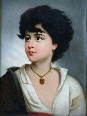 """Porzellan Bild Platte Plaque """"Neapolitaner"""" nach Gustav Karl Ludwig Richter 1850"""