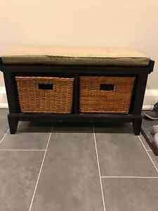 Bench with Cushion & Storage Baskets- Crate & Barel