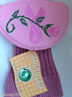 NEW WINNING EDGE GOLF BREAST CANCER ROSE MALLET PUTTER (Golf Putter Cover Winning Edge)