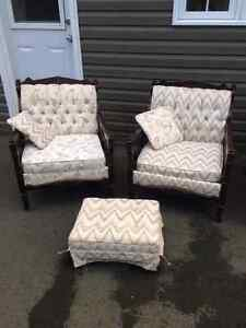Price drop! Antique chesterfield, 2 chairs and ottoman for sale. St. John's Newfoundland image 2