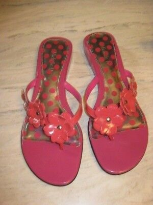 Michelle D Womens Hot Pink Sandals Flip Flops with Flowers on Strap Size 10M