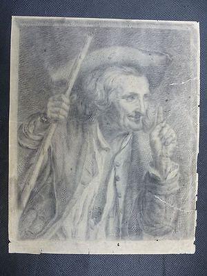 """Bleistiftzeichnung """"Portrait eines Mannes"""" unlesbar signiert & datiert 1848"""