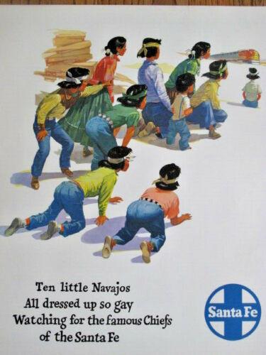"Original RARE ~ NOS Santa Fe Railroad Ten Little Navajos 20""x24"" Poster By ELMS"