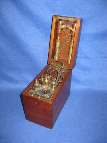 Antique Victorian Mahogany Wood Box Medical Therapy Electric Shock Instrument.