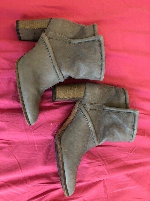 Comptoir Des Cotonniers Women Grey Leather Boots Size 4UK 37 EU