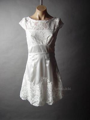 Sale White Ornate Lace Satin Elegant Bateau Neck Ladylike Tea Party 16 mv Dress