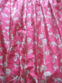 Pair Maison cerise pink lined cuttains each 62 l x 78w inches - southbourne