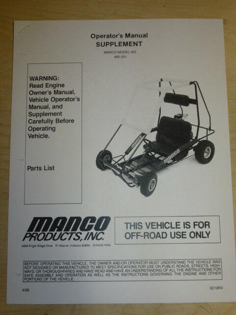 MANCO MODEL 485-331 GO KART PARTS LIST OPERATORS MANUAL CART