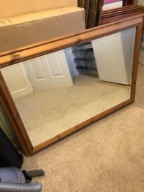 Pine framed Mirror and Pictures
