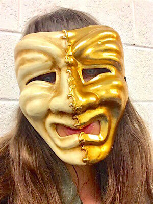 Masquerade Mask Comedy & Tragedy Mardi Gras Sad Crying Venetian Purge Gold Leaf (Comedy Tragedy Halloween Masks)