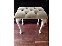 Pretty *DRESSING TABLE STOOL* Sage Green Seat Wooden Shaped Legs