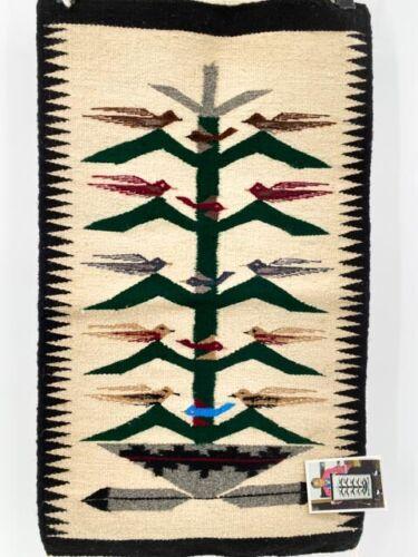 "NAVAJO Hand Woven Wool Rug Rose Bitah Colorful Birds Tree of Life w/Tag 29""x17"
