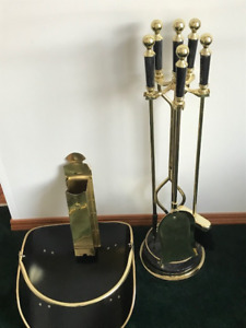 6 Piece Polished Brass Fireplace Tool Set with Stand