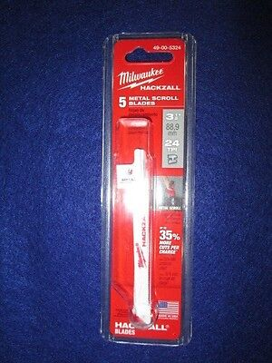 Milwaukee 49-00-5324 3-12 Hackzall Blades Pack Of 5 Metal Scroll New
