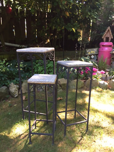 Set of 3 Metal tables with stone tops
