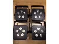 LEDJ 5Q5 RGBW Slimline Par - 4 Lights with Padded Accu-Case and Remote Control