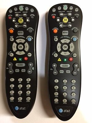 QTY LOT OF 2: Uverse AT&T BLACK REMOTE CONTROL! WORKS WITH ALL Uverse SYSTEMS!