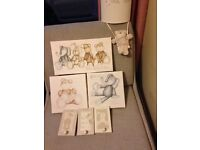 Neutral Baby's nursery pictures , clothes pegs and lampshade
