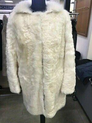 € 2350 Coat real fur aries milk size 44 made in Italy leather Salvatore Santoro