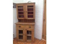 old pine dresser with glazed doors