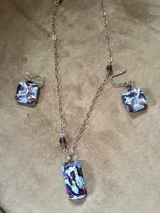 Murano glass necklace and earrings set - new!