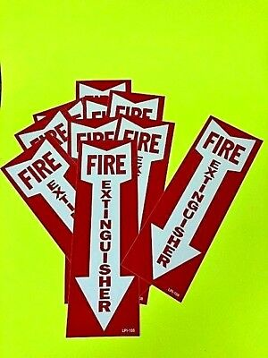 Fire Extinguisher Arrow Signs Self-adhesive Vinyl  4 X 12 -lot Of 10