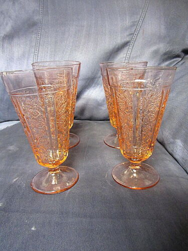 4 Federal Glass Co Pink Sharon Cabbage Rose 15 Ounce Footed Ice Tea Tumblers