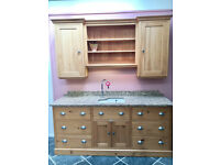 Quebec yellow pine full sink unit and wall unit, granite work top and Villeroy & Boch sink