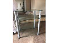 GLASS/CHROME SHELVED TV STAND