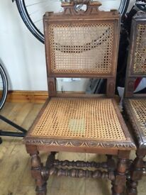 7 antique oak barley twist chairs with solid oak berge back and seat