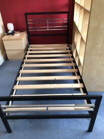 Black and Chrome Single Metal Bed Frame with Slats