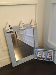 NAUTICAL Sailboat Mirror along with Small Hook rack