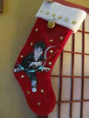 """2001 HARRY POTTER GOLDEN SNITCH RED CHIRSTMAS STOCKING WIZARD STARS 18"""""""